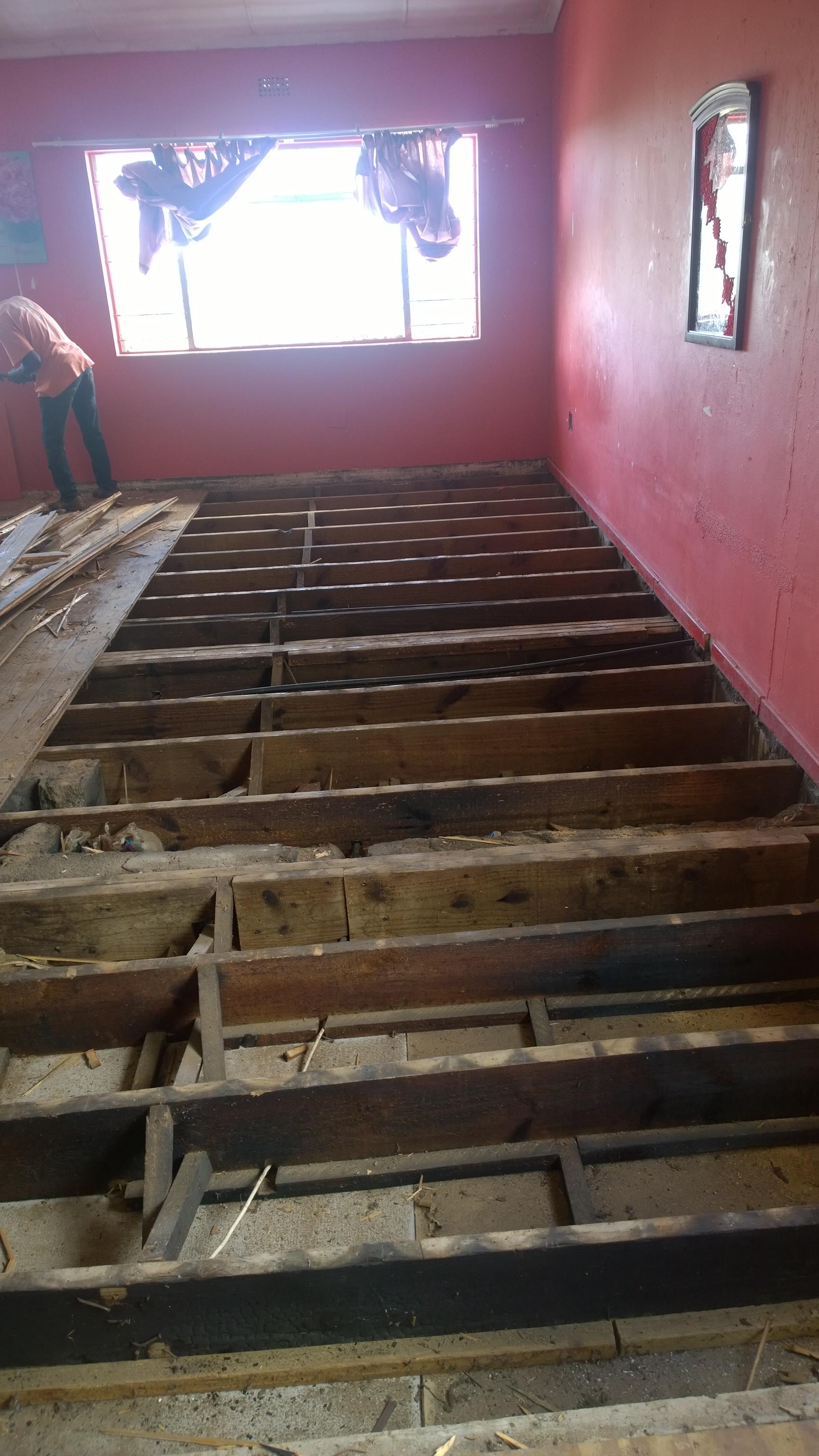 Floor being stripped