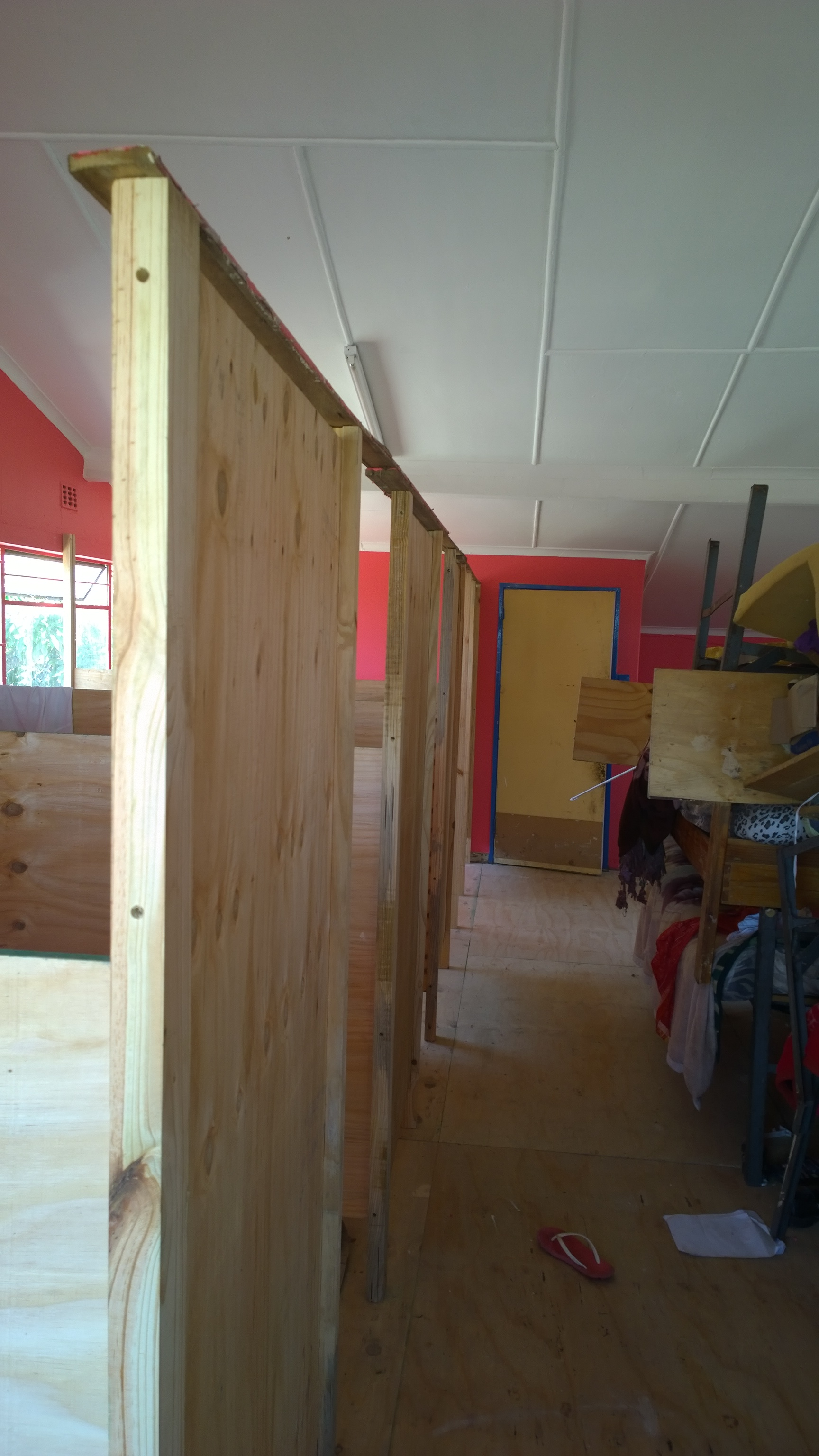 Cubicles being fitted